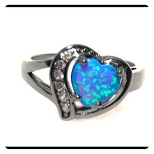 Jewelry - Black rhodium pltd synthetic opal and quartz ring